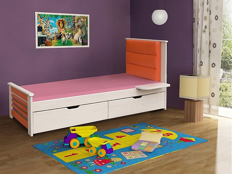 Pat din lemn de pin cu 2 sertare pentru copii Matylda, 200 x 90 cm