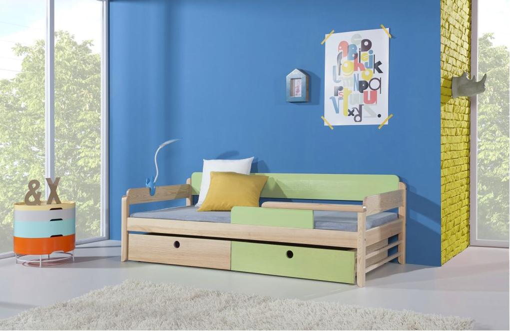 Pat din lemn de pin cu 2 sertare pentru copii Natu, 200 x 90 cm