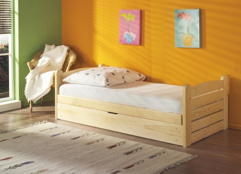 Pat rabatabil din lemn de pin cu lada de depozitare, pentru copii Ola, 200 x 90 cm imagine