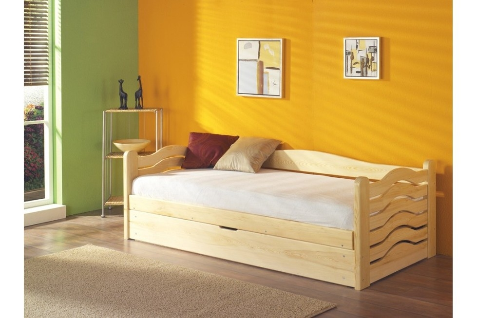 Pat din lemn de pin cu sertar, pentru copii Olga, 200 x 90 cm