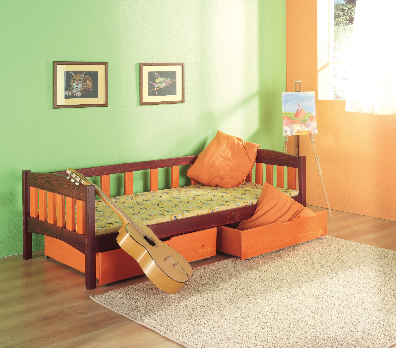 Pat din lemn de pin cu 2 sertare pentru copii Zuzanna, 200 x 90 cm
