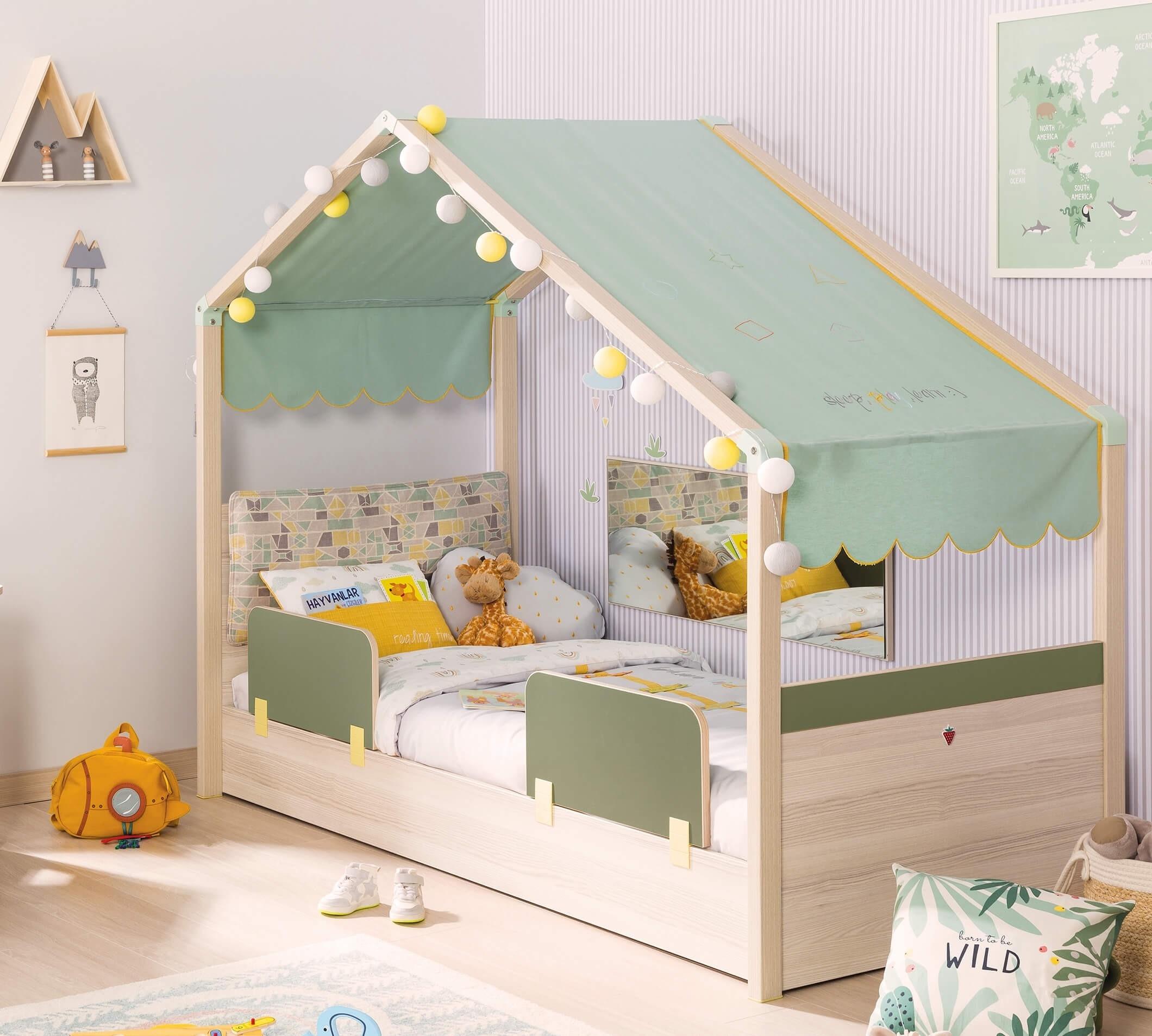 Pat din pal cu 2 protectii, pentru copii Montessori New Natural / Verde, 180 x 80 cm imagine