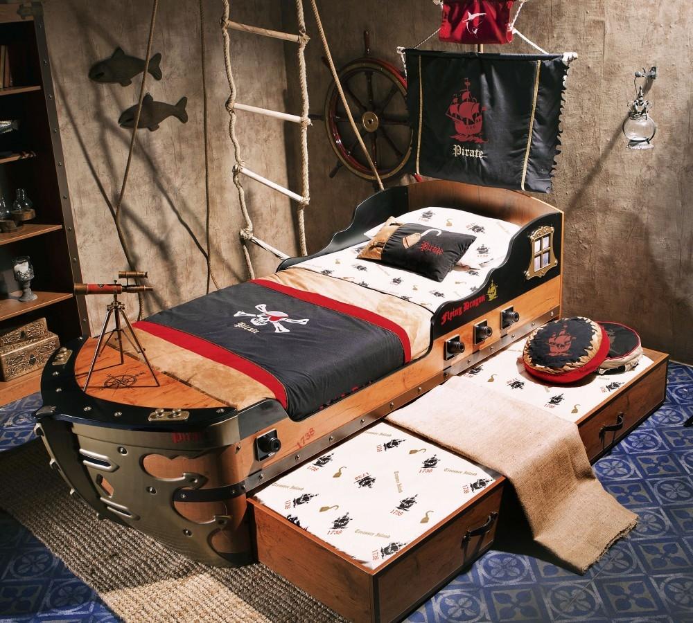 Pat din pal cu sertar pentru copii Pirate Brown 190 x 90 cm