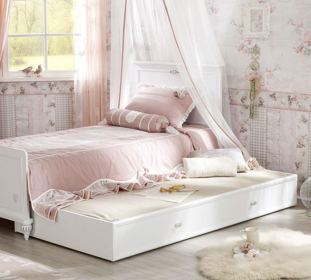 Pat din pal cu sertar pentru copii si tineret Romantica White 190 x 90 cm