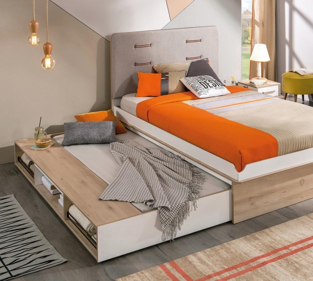 Pat din pal cu sertar si capatai tapitat, pentru tineret Dynamic White / Light Grey, 200 x 120 cm