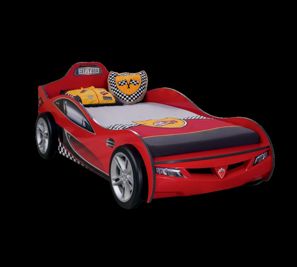 Pat din pal pentru copii Coupe Red, 190 x 90 cm
