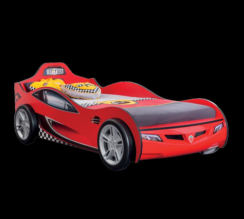 Pat din pal pentru copii Race Cup Red 190 x 90 cm