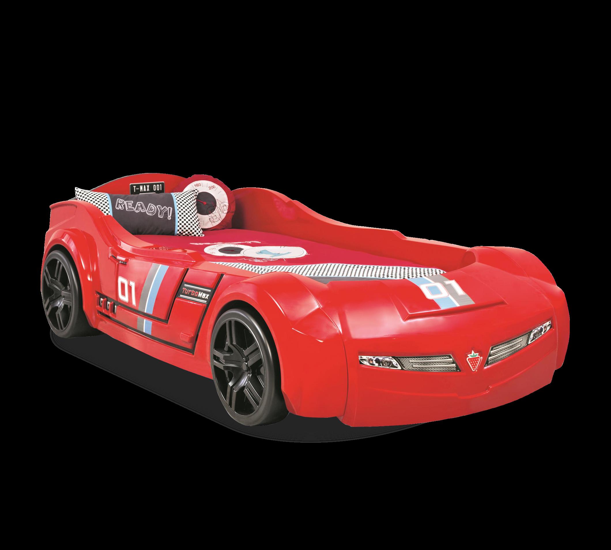 Pat din pal pentru copii Turbomax Red, 195 x 90 cm