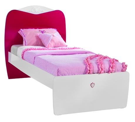 Pat din pal pentru fete si tineret Yakut White / Dark Pink 190 x 90 cm