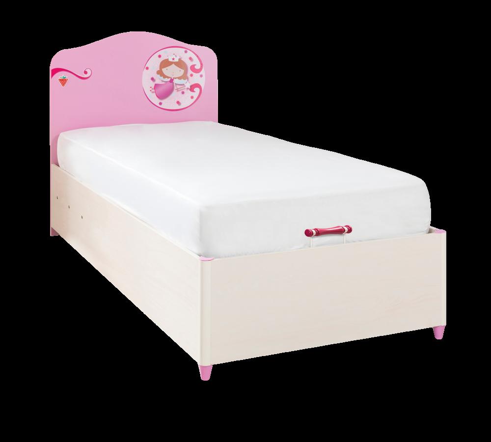 Pat din pal rabatabil cu lada de depozitare, pentru copii Little Princess Pink / Nature, 190 x 90 cm