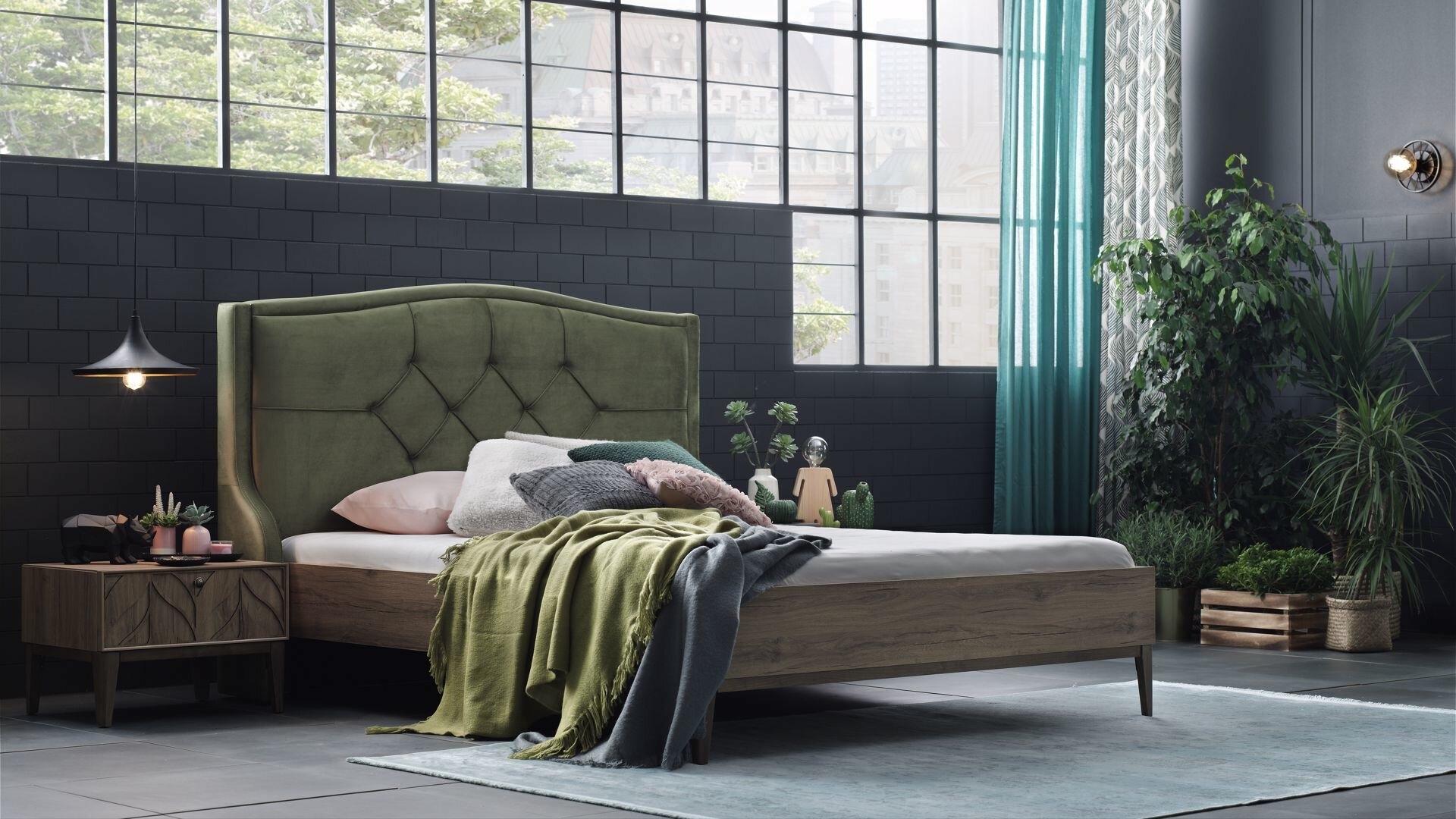 Pat din pal si lemn de fag, capatai tapitat cu stofa Piante Velvet Verde / Nuc imagine