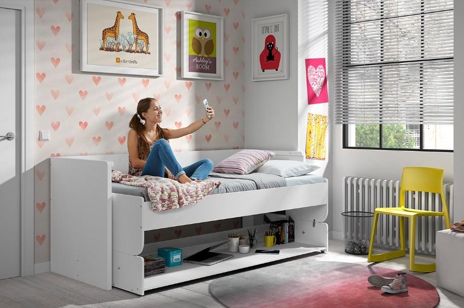 Pat din pal transformabil cu birou incorporat, pentru copii Denver Alb, 200 x 90 cm imagine