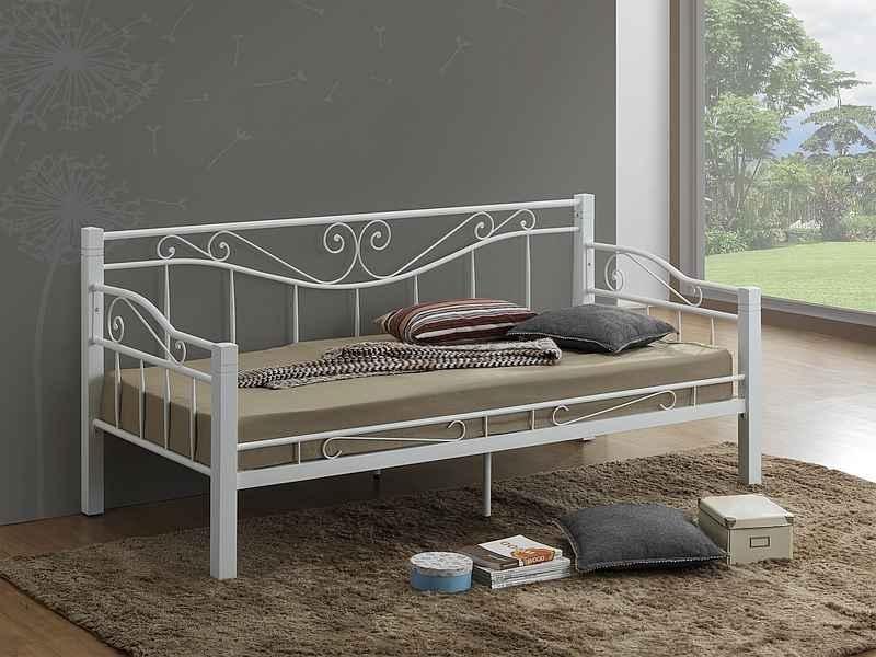 Pat / divan din metal cu insertie de lemn Kenia Alb, 200 x 90 cm imagine