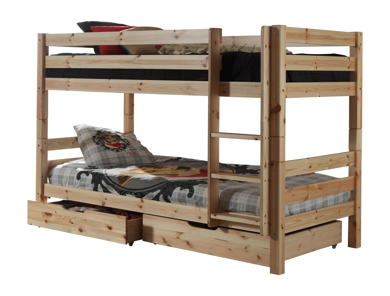 Pat etajat din lemn de pin cu 2 sertare, pentru copii Pino Small Natural, 200 x 90 cm