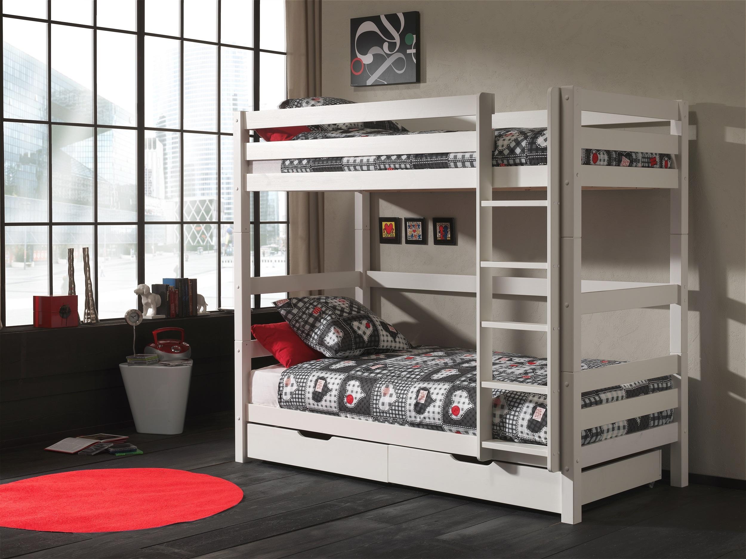 Pat etajat din lemn de pin cu 2 sertare, pentru copii Pino Tall Alb, 200 x 90 cm