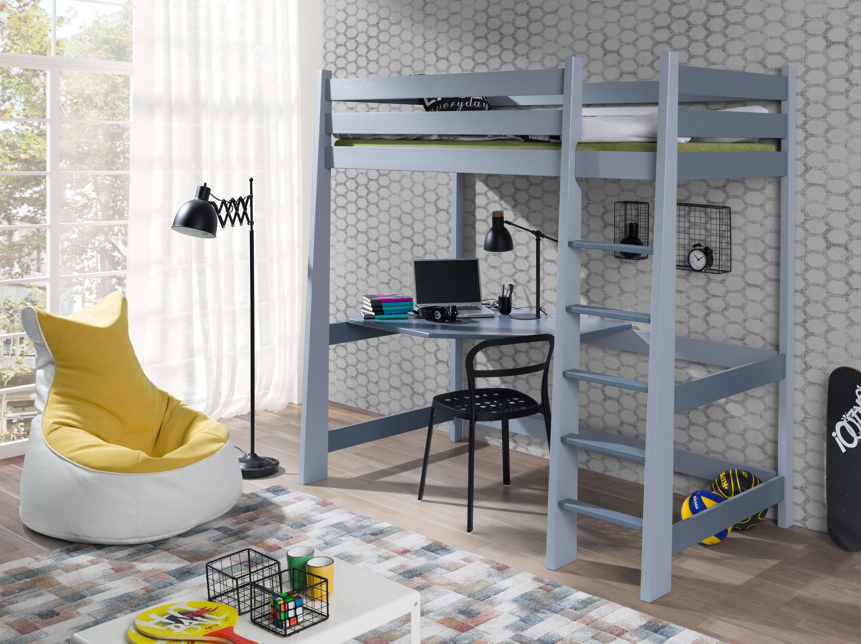 Pat etajat din lemn de pin, cu birou incorporat pentru copii Milosz, 200 x 90 cm somproduct.ro