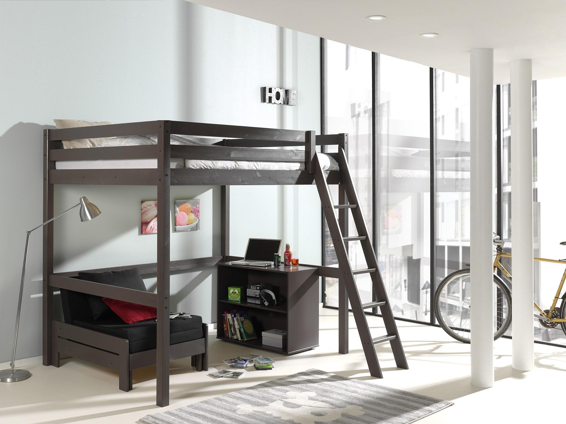 Pat etajat din lemn de pin, cu fotoliu extensibil si biblioteca, pentru tineret Pino Mezzanine II Grej, 200 x 140 cm