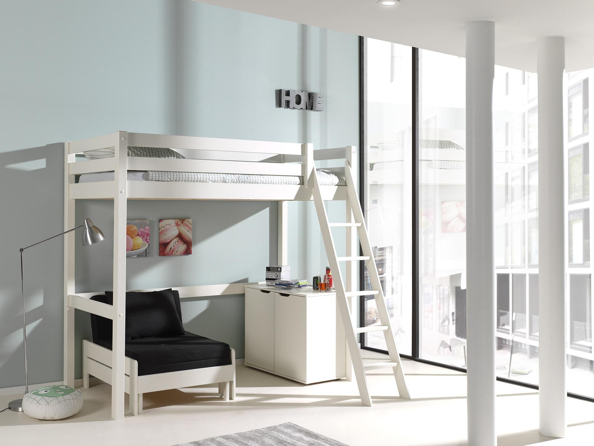 Pat etajat din lemn de pin, cu fotoliu extensibil si cabinet, pentru copii Pino Mezzanine II Alb, 200 x 90 cm imagine