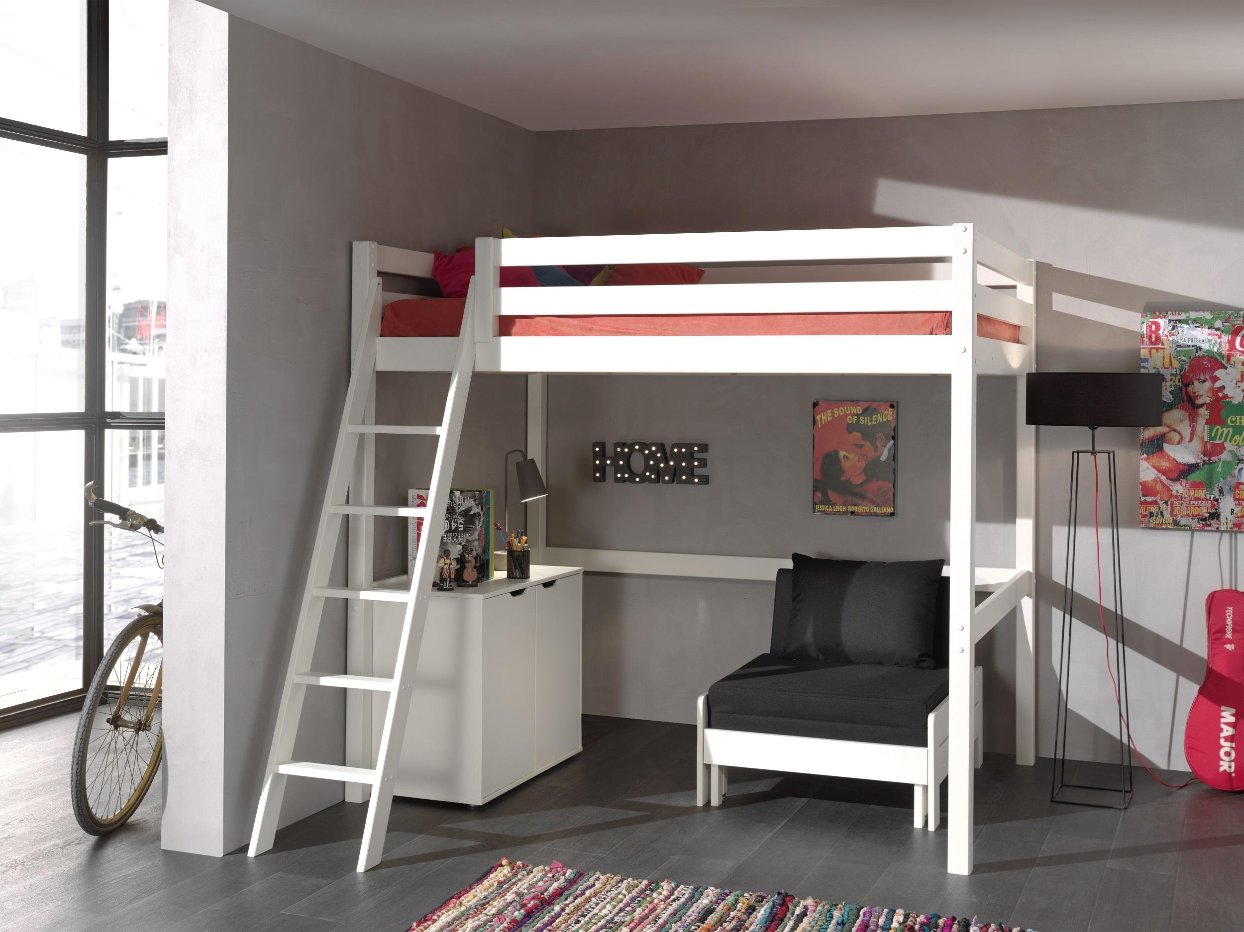Pat etajat din lemn de pin, cu fotoliu extensibil si cabinet, pentru tineret Pino Mezzanine II Alb, 200 x 140 cm