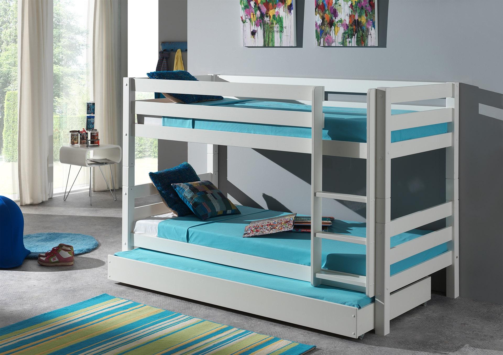 Pat etajat din lemn de pin cu sertar, pentru copii Pino Small Alb, 200 x 90 cm