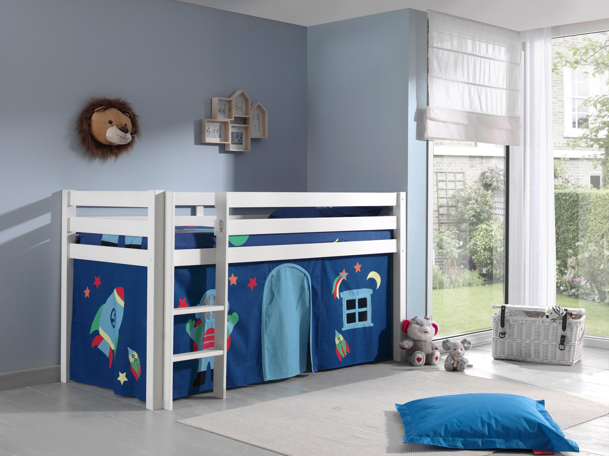Pat etajat din lemn de pin, cu spatiu de joaca pentru copii Pino Astro Alb, 200 x 90 cm