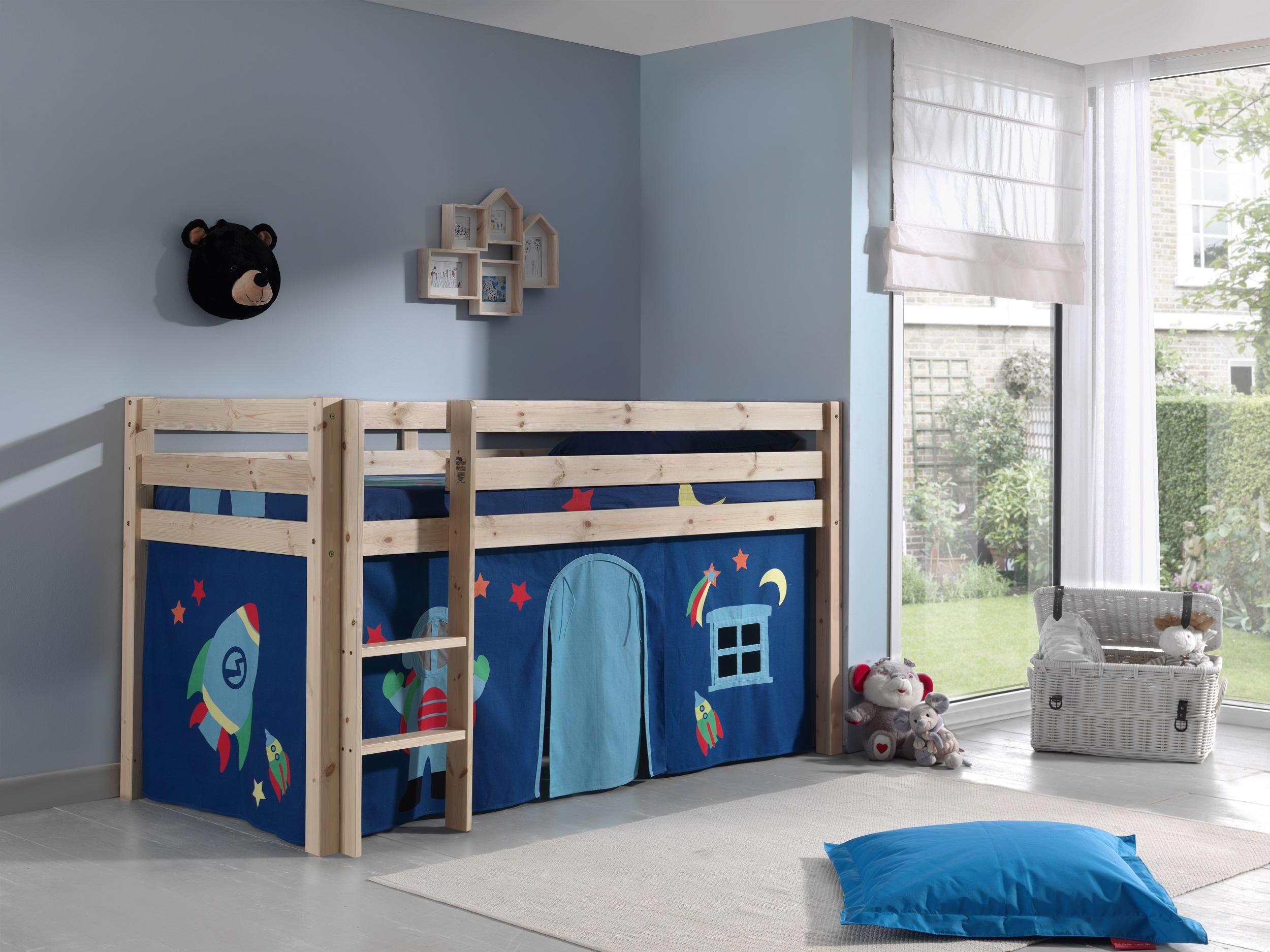 Pat etajat din lemn de pin, cu spatiu de joaca pentru copii Pino Astro Natural, 200 x 90 cm
