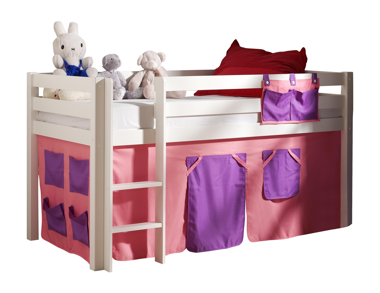 Pat etajat din lemn de pin, cu spatiu de joaca pentru copii Pino Bella Pink Alb, 200 x 90 cm