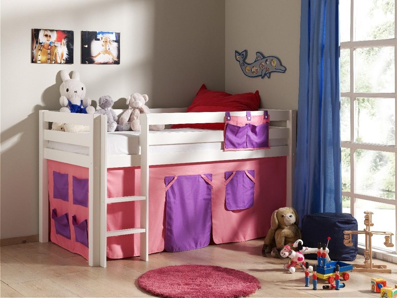 Pat etajat din lemn de pin, cu spatiu de joaca pentru copii Pino Bella Pink Alb, 200 x 90 cm imagine