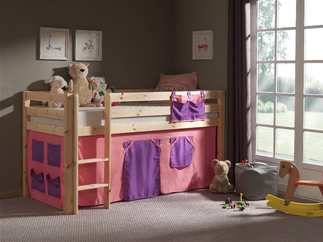 Pat etajat din lemn de pin, cu spatiu de joaca pentru copii Pino Bella Pink Natural, 200 x 90 cm