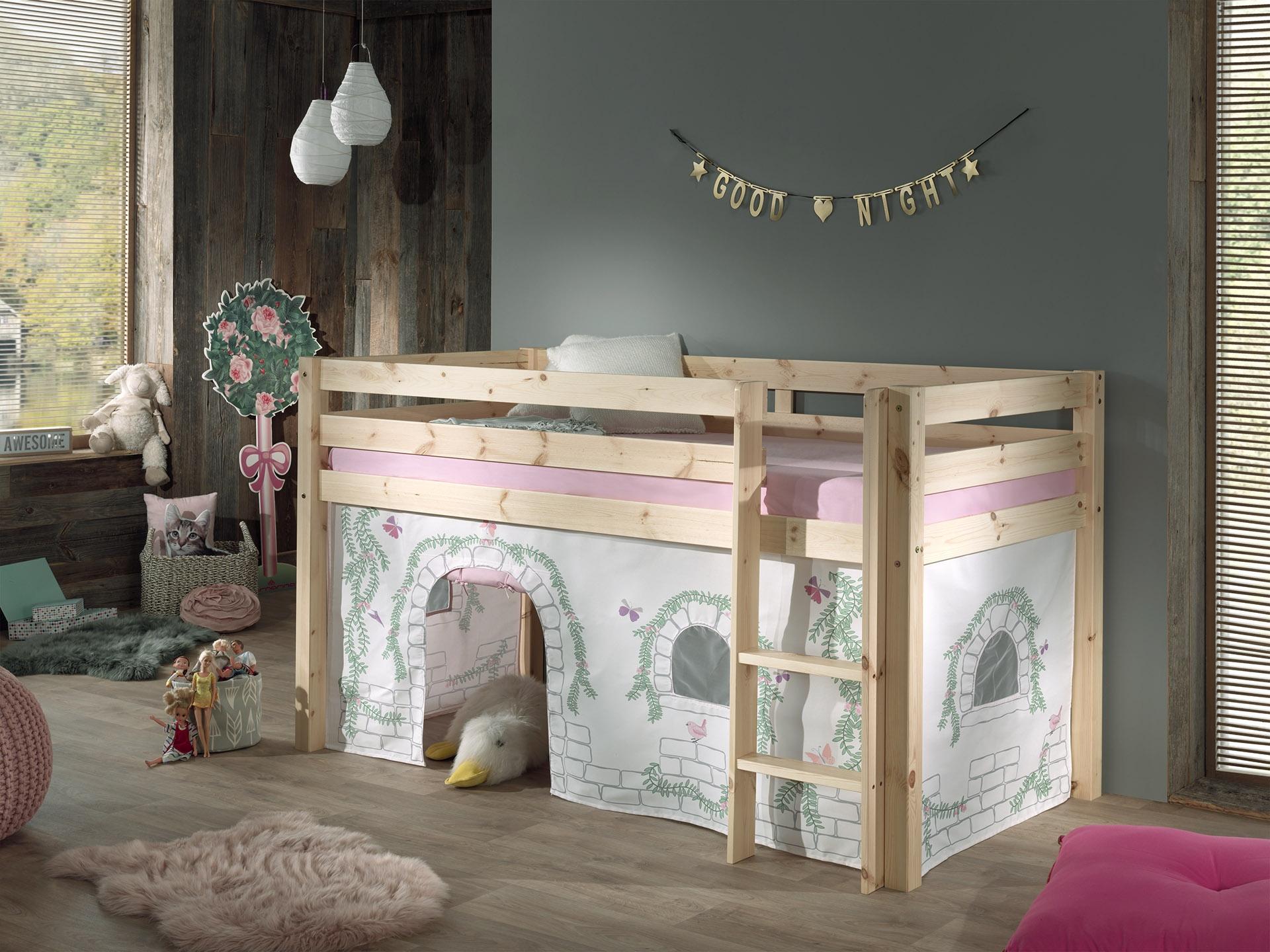 Pat etajat din lemn de pin, cu spatiu de joaca pentru copii Pino Birdy Natural, 200 x 90 cm imagine