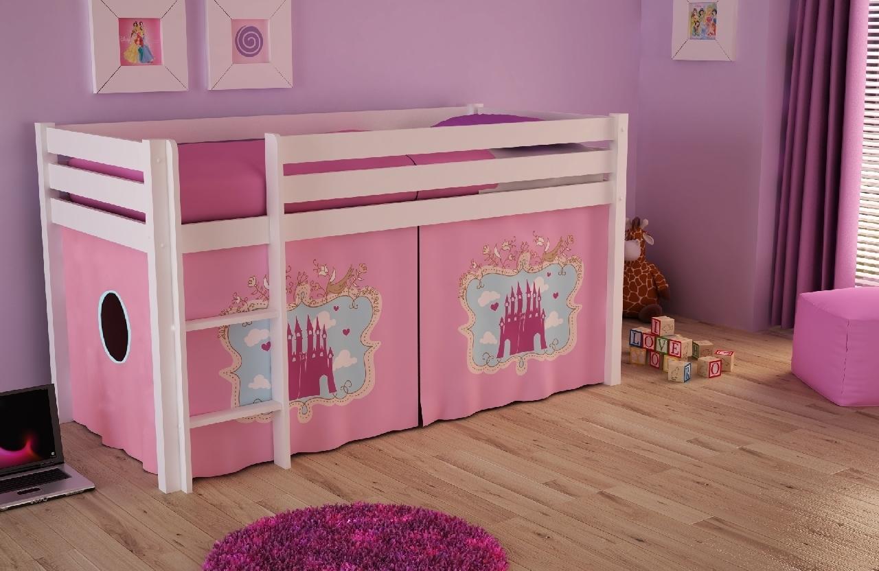 Pat etajat din lemn de pin, cu spatiu de joaca pentru copii Pino Castle Alb, 200 x 90 cm