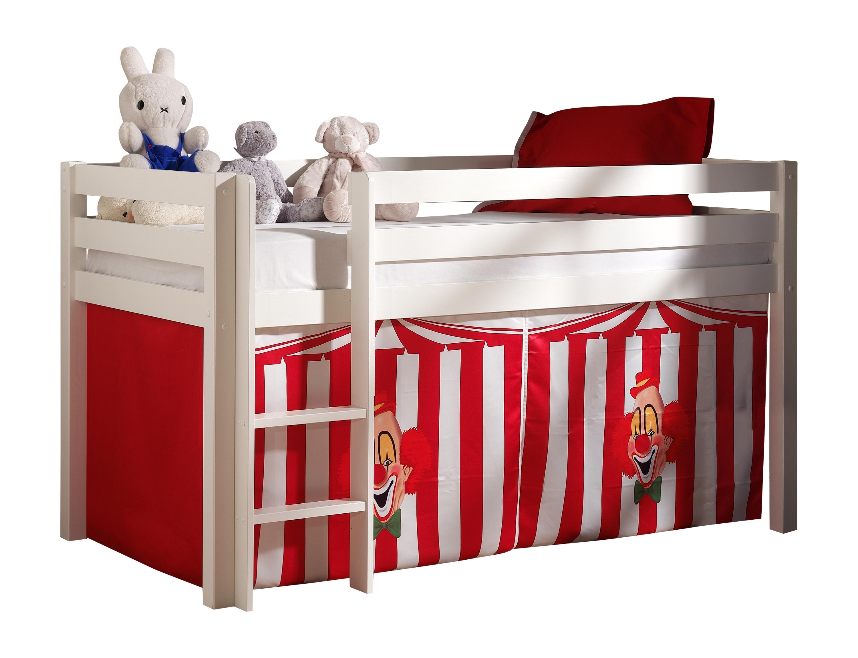 Pat etajat din lemn de pin, cu spatiu de joaca pentru copii Pino Chucky Alb, 200 x 90 cm