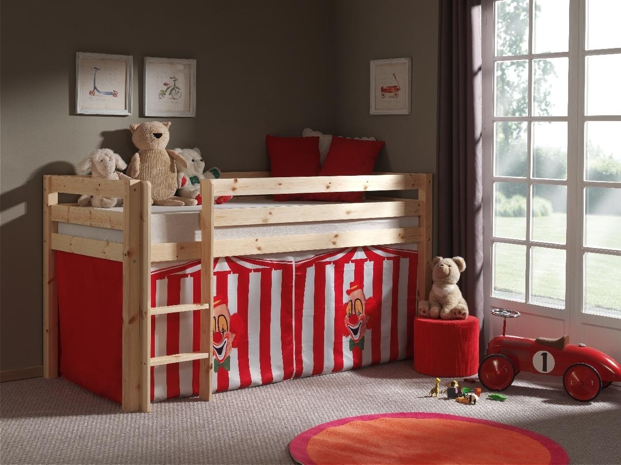 Pat etajat din lemn de pin, cu spatiu de joaca pentru copii Pino Chucky Natural, 200 x 90 cm
