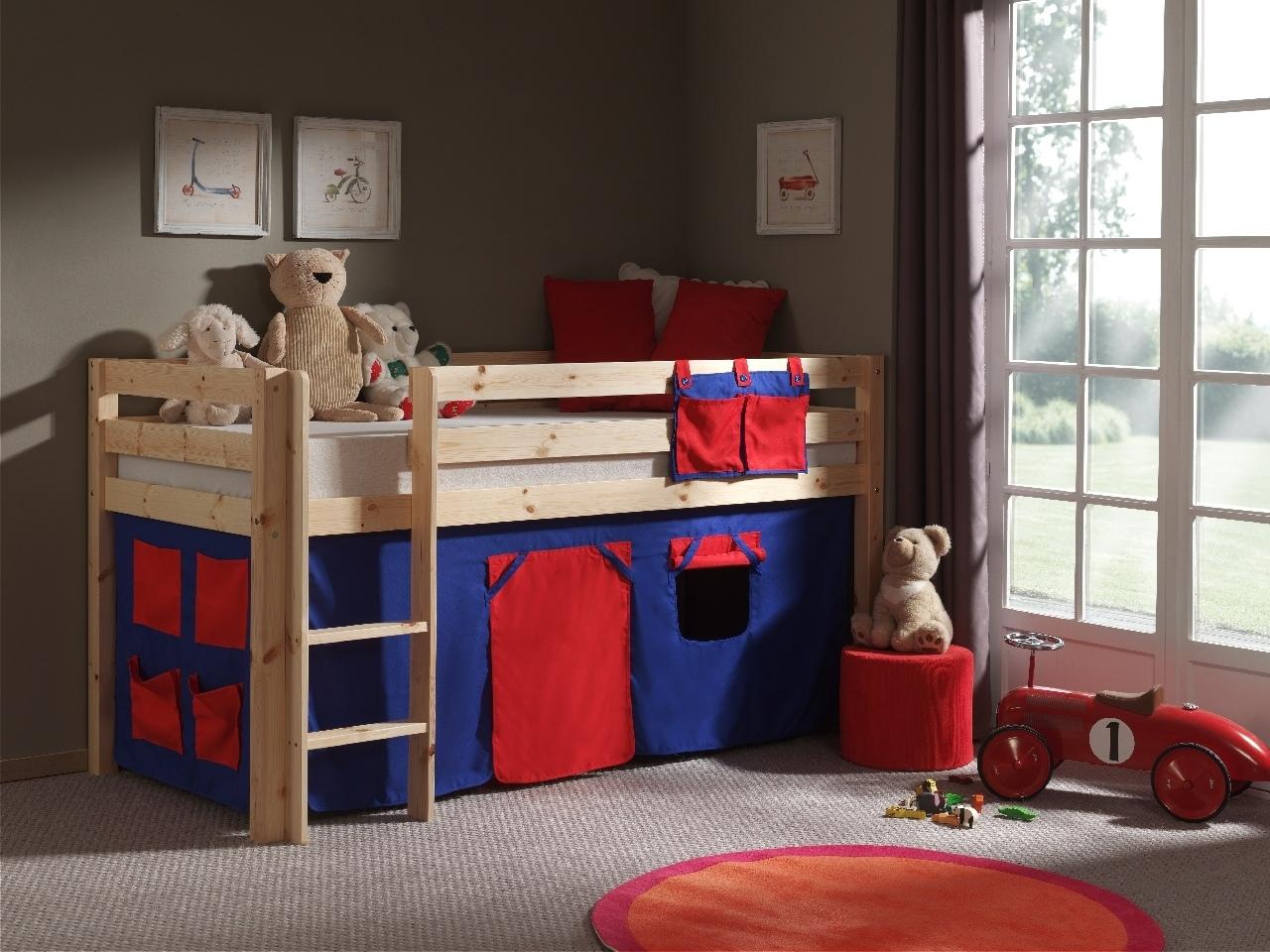 Pat etajat din lemn de pin, cu spatiu de joaca pentru copii Pino Domino Natural, 200 x 90 cm