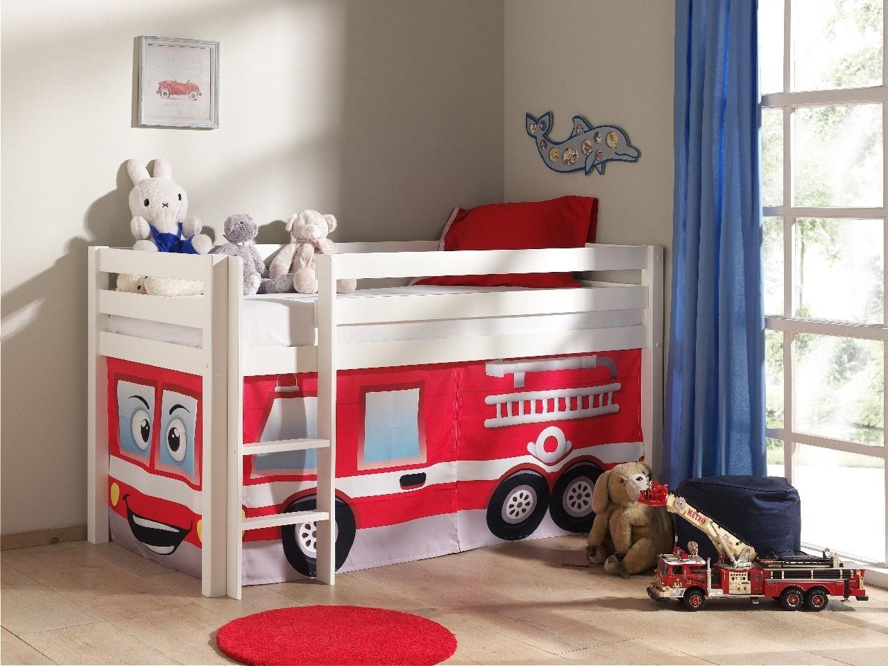 Pat etajat din lemn de pin, cu spatiu de joaca pentru copii Pino Fire Rescue Alb, 200 x 90 cm