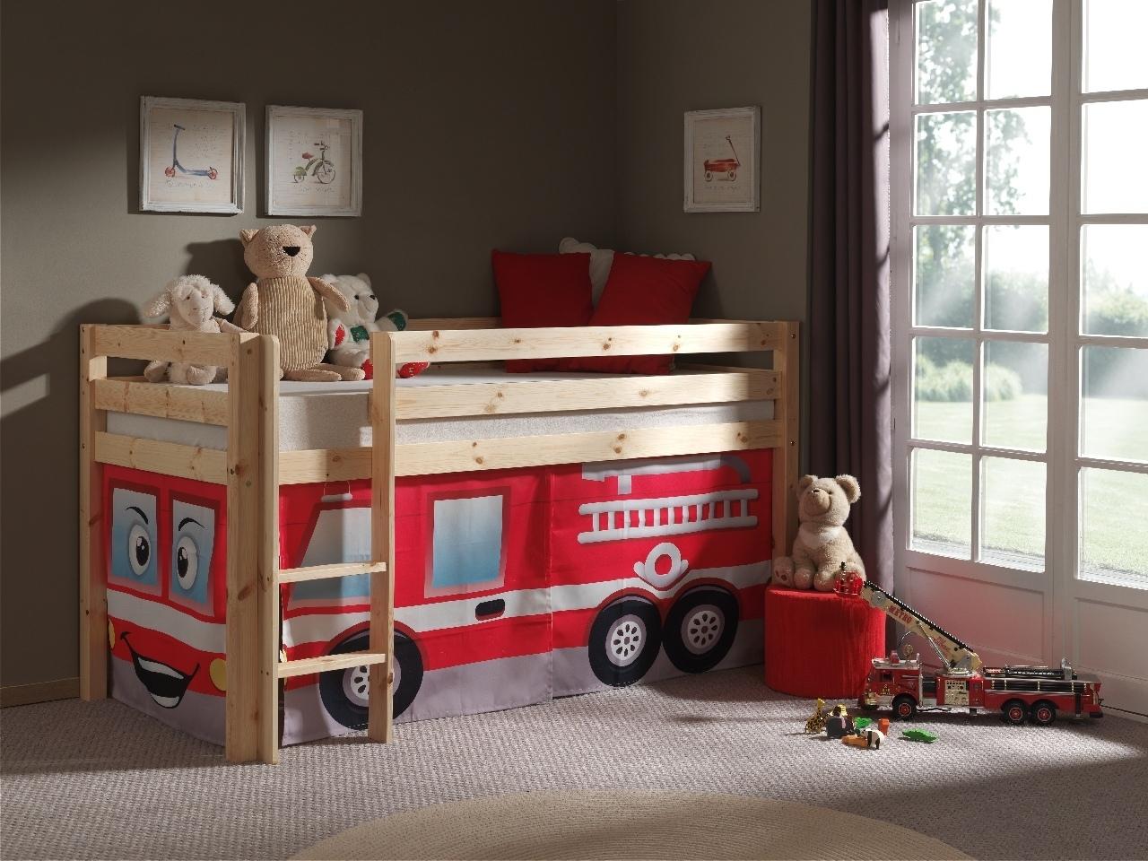 Pat etajat din lemn de pin, cu spatiu de joaca pentru copii Pino Fire Rescue Natural, 200 x 90 cm