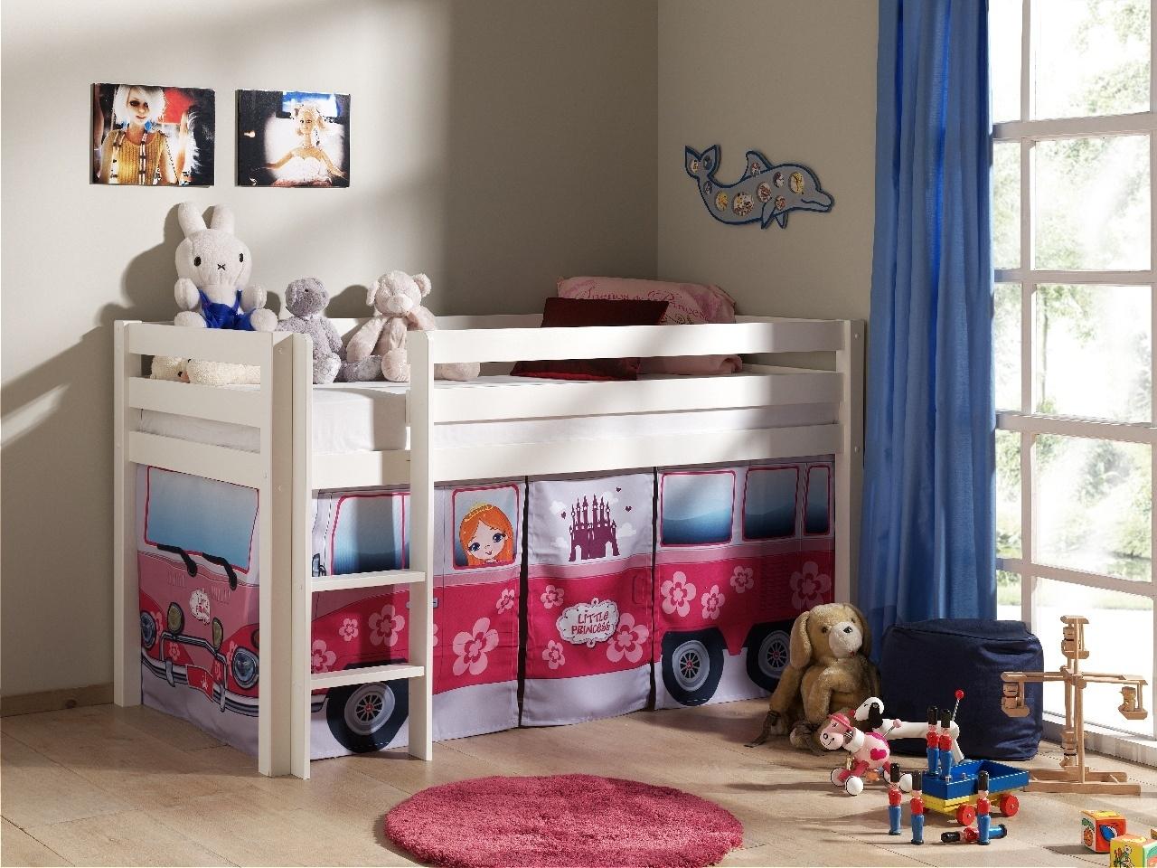 Pat etajat din lemn de pin, cu spatiu de joaca pentru copii Pino Little Princess Alb, 200 x 90 cm