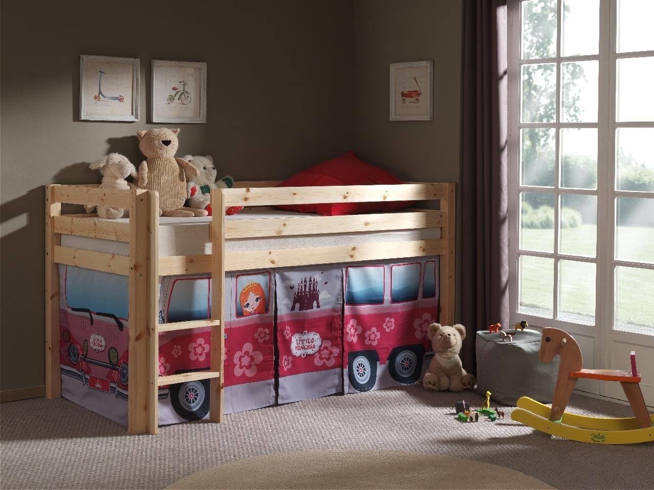Pat etajat din lemn de pin, cu spatiu de joaca pentru copii Pino Little Princess Natural, 200 x 90 cm imagine