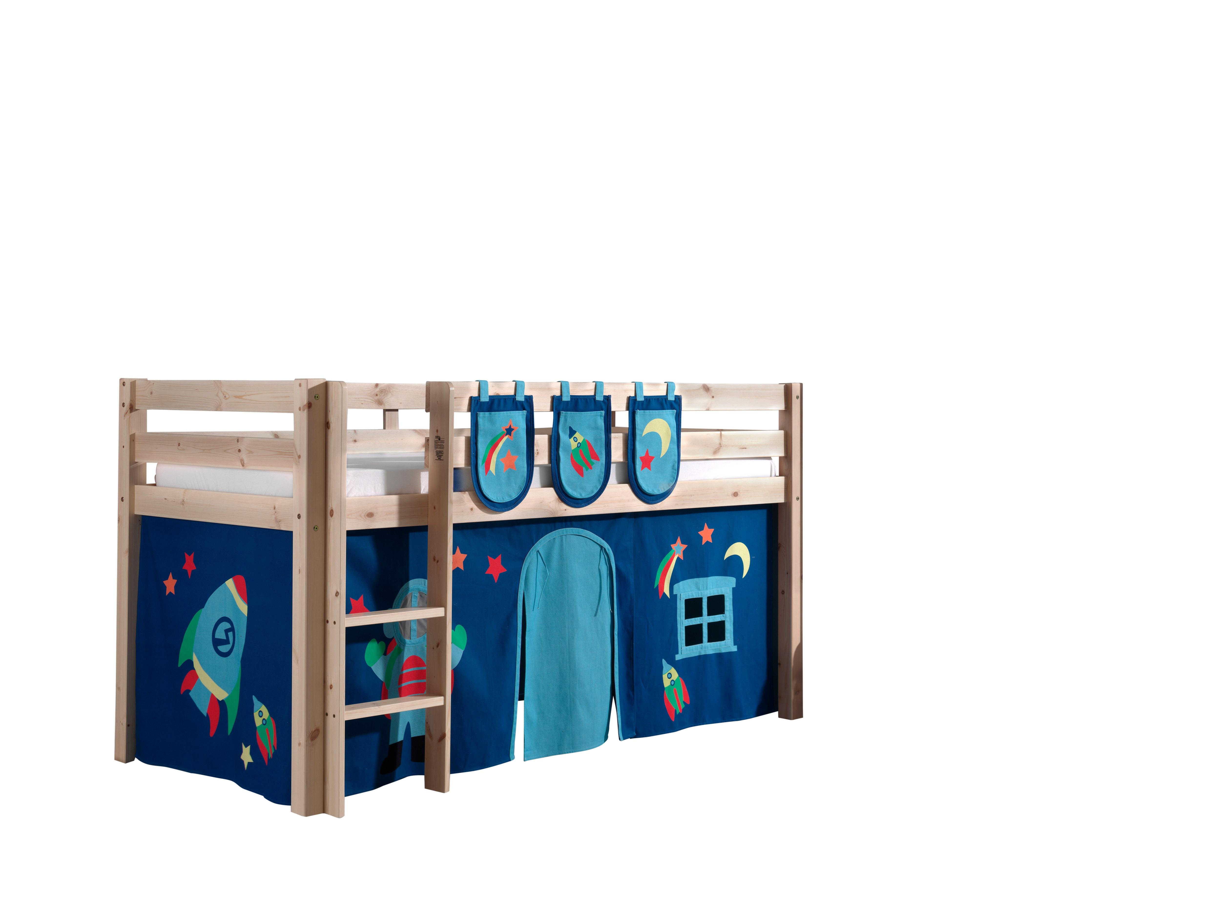 Pat etajat din lemn de pin, cu spatiu de joaca pentru copii Pino Plus Astro Natural, 200 x 90 cm