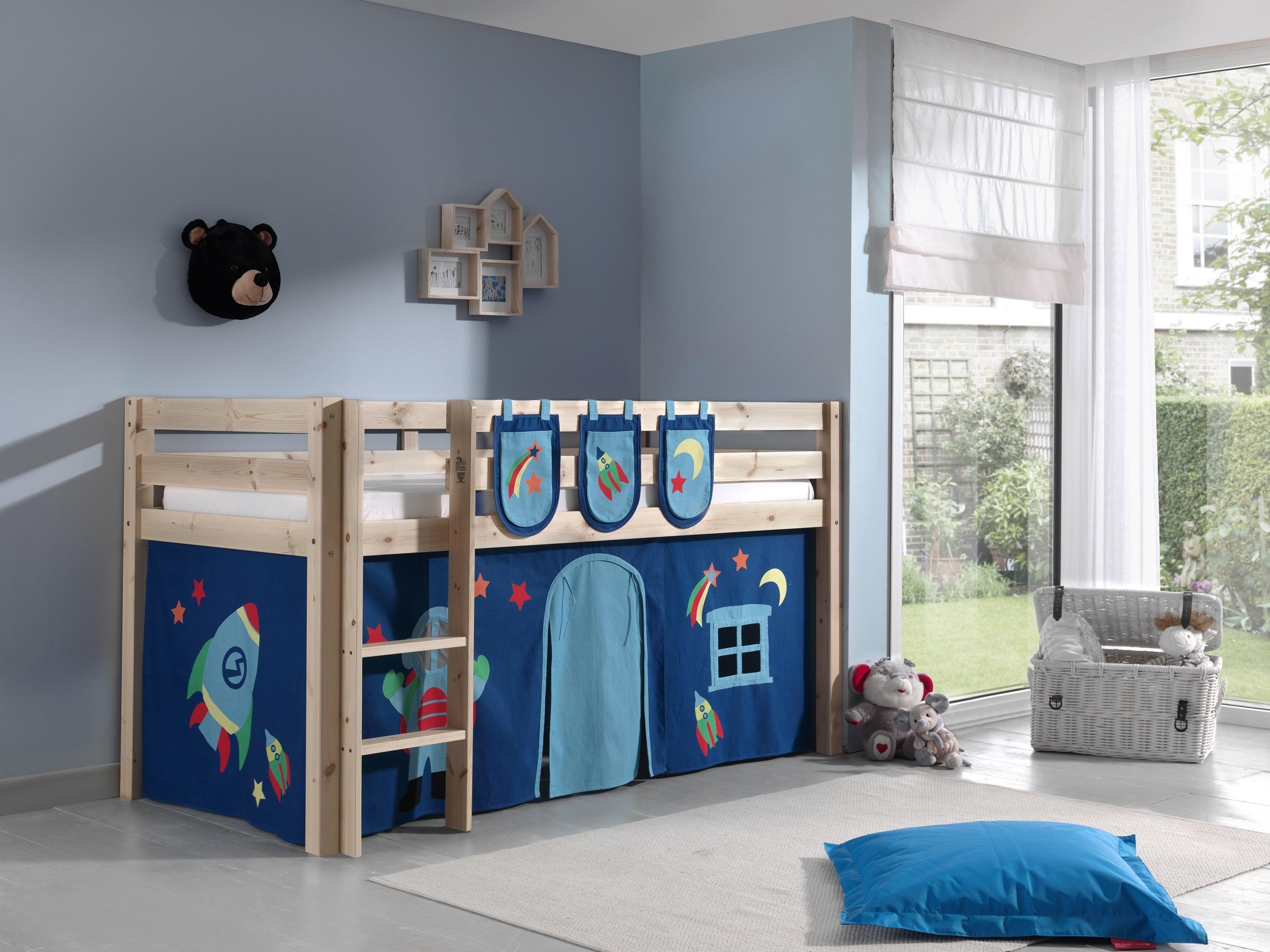 Pat etajat din lemn de pin, cu spatiu de joaca pentru copii Pino Plus Astro Natural, 200 x 90 cm imagine