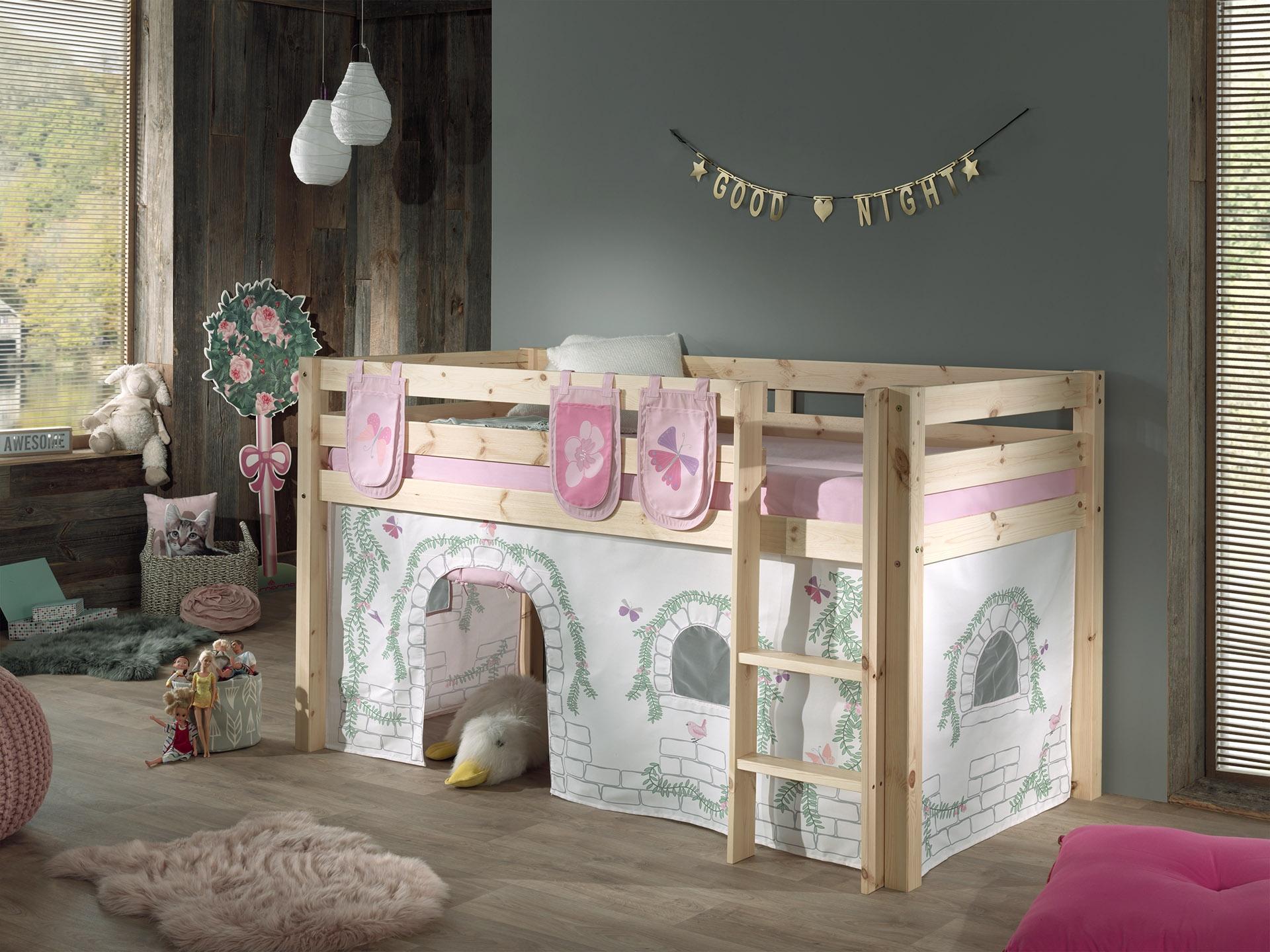 Pat etajat din lemn de pin, cu spatiu de joaca pentru copii Pino Plus Birdy Natural, 200 x 90 cm