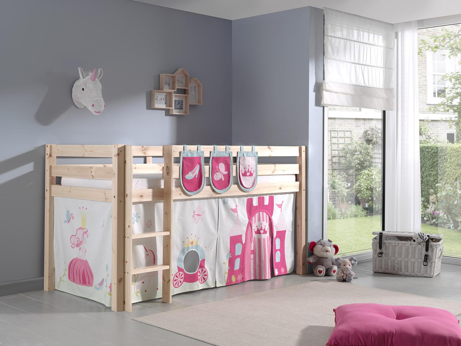 Pat etajat din lemn de pin, cu spatiu de joaca pentru copii Pino Plus Princess Natural, 200 x 90 cm imagine