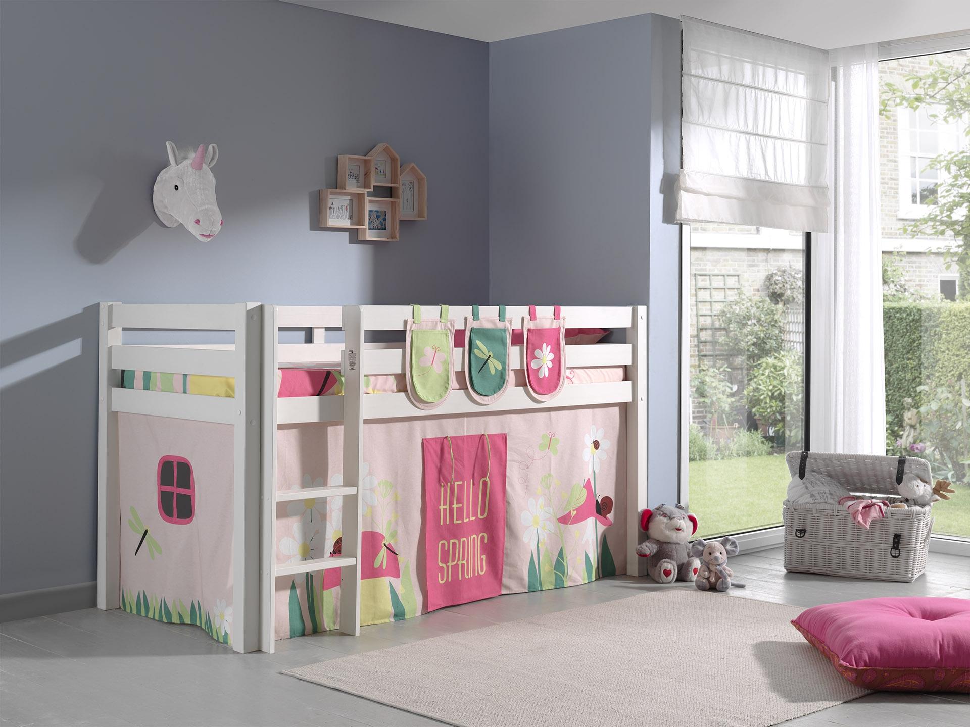 Pat etajat din lemn de pin, cu spatiu de joaca pentru copii Pino Plus Spring Alb, 200 x 90 cm imagine