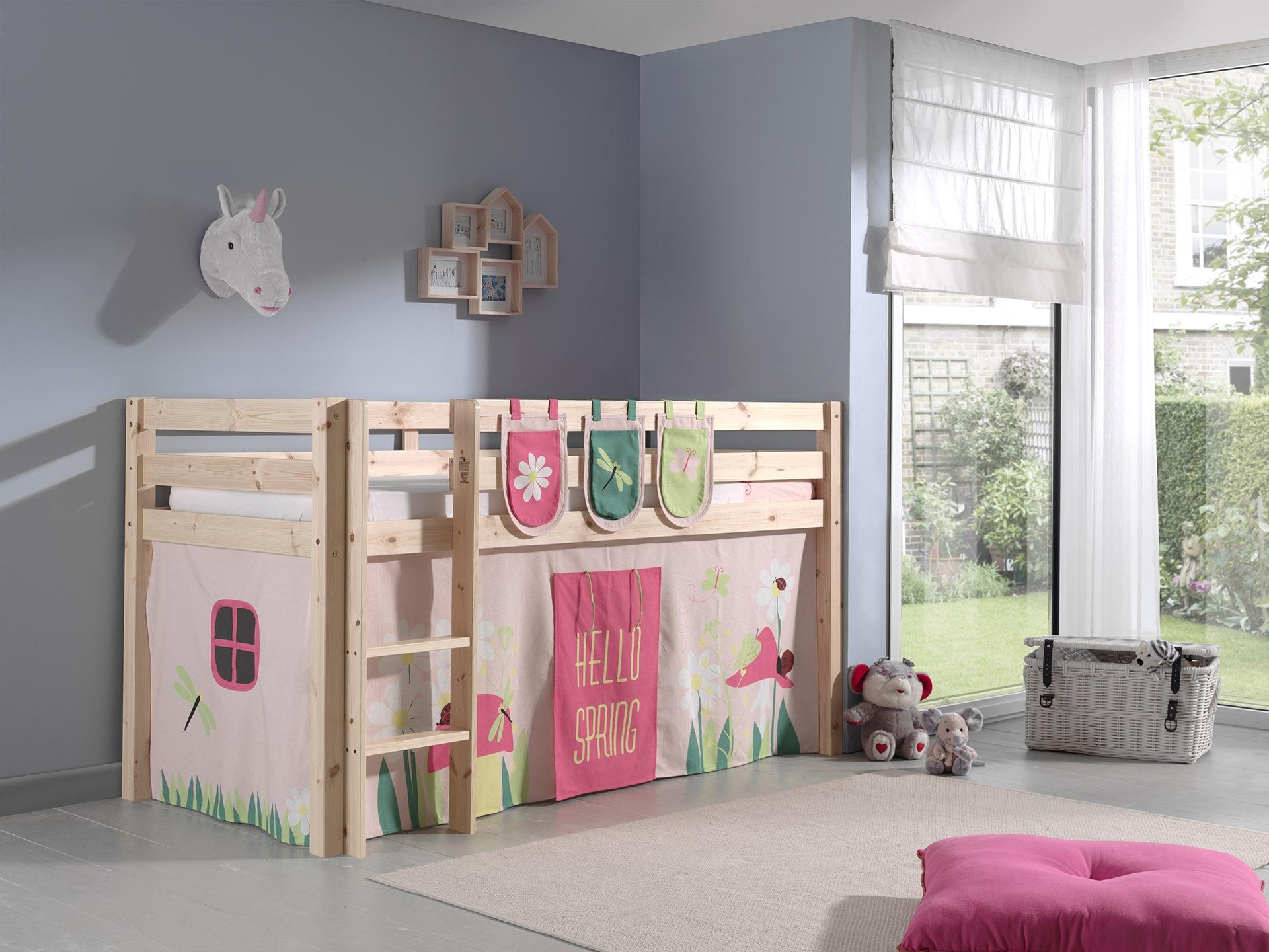 Pat etajat din lemn de pin, cu spatiu de joaca pentru copii Pino Plus Spring Natural, 200 x 90 cm imagine