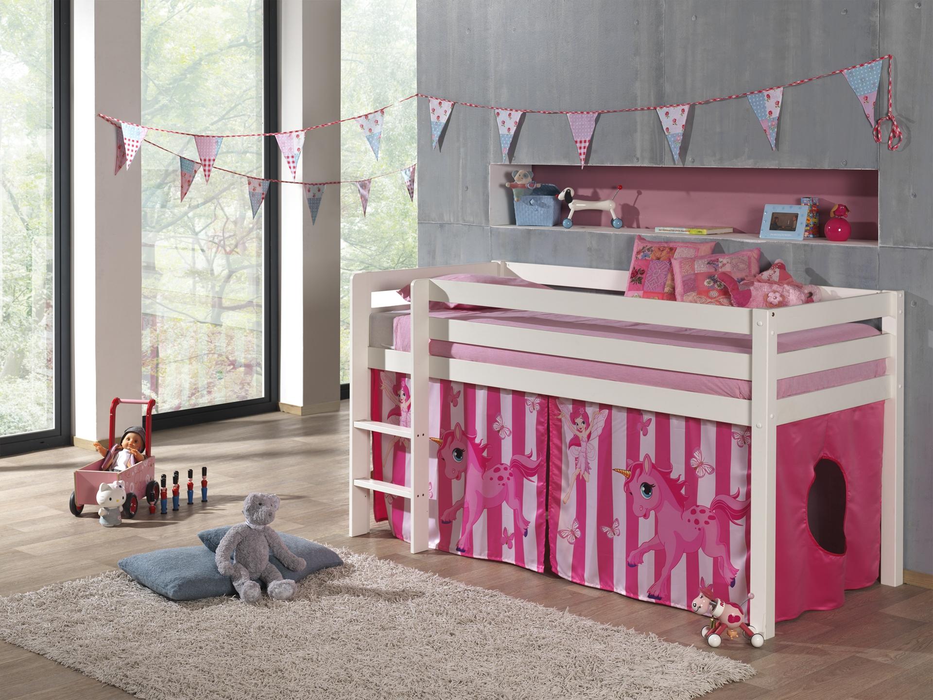 Pat etajat din lemn de pin, cu spatiu de joaca pentru copii Pino Pony Alb, 200 x 90 cm