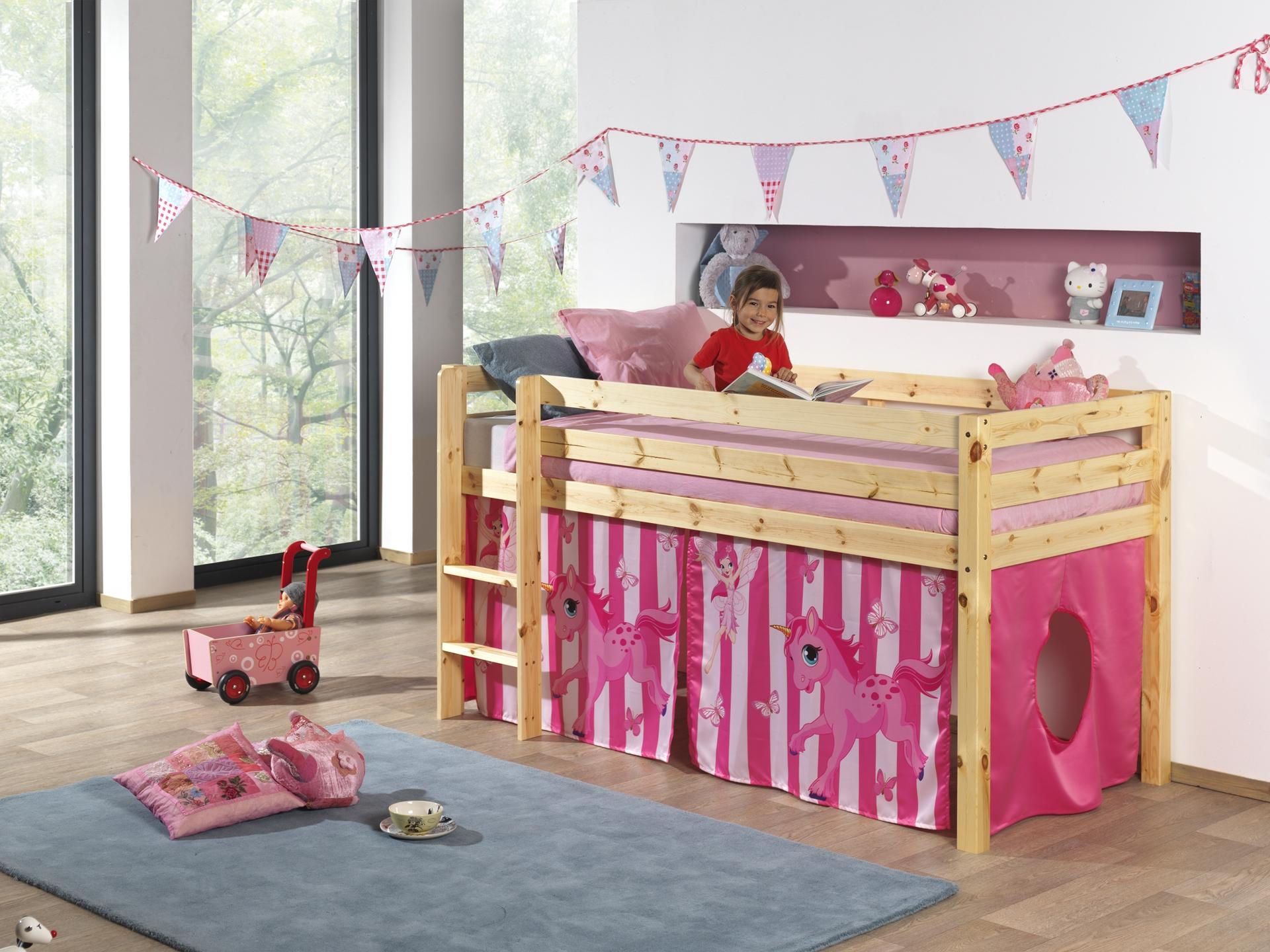 Pat etajat din lemn de pin, cu spatiu de joaca pentru copii Pino Pony Natural, 200 x 90 cm