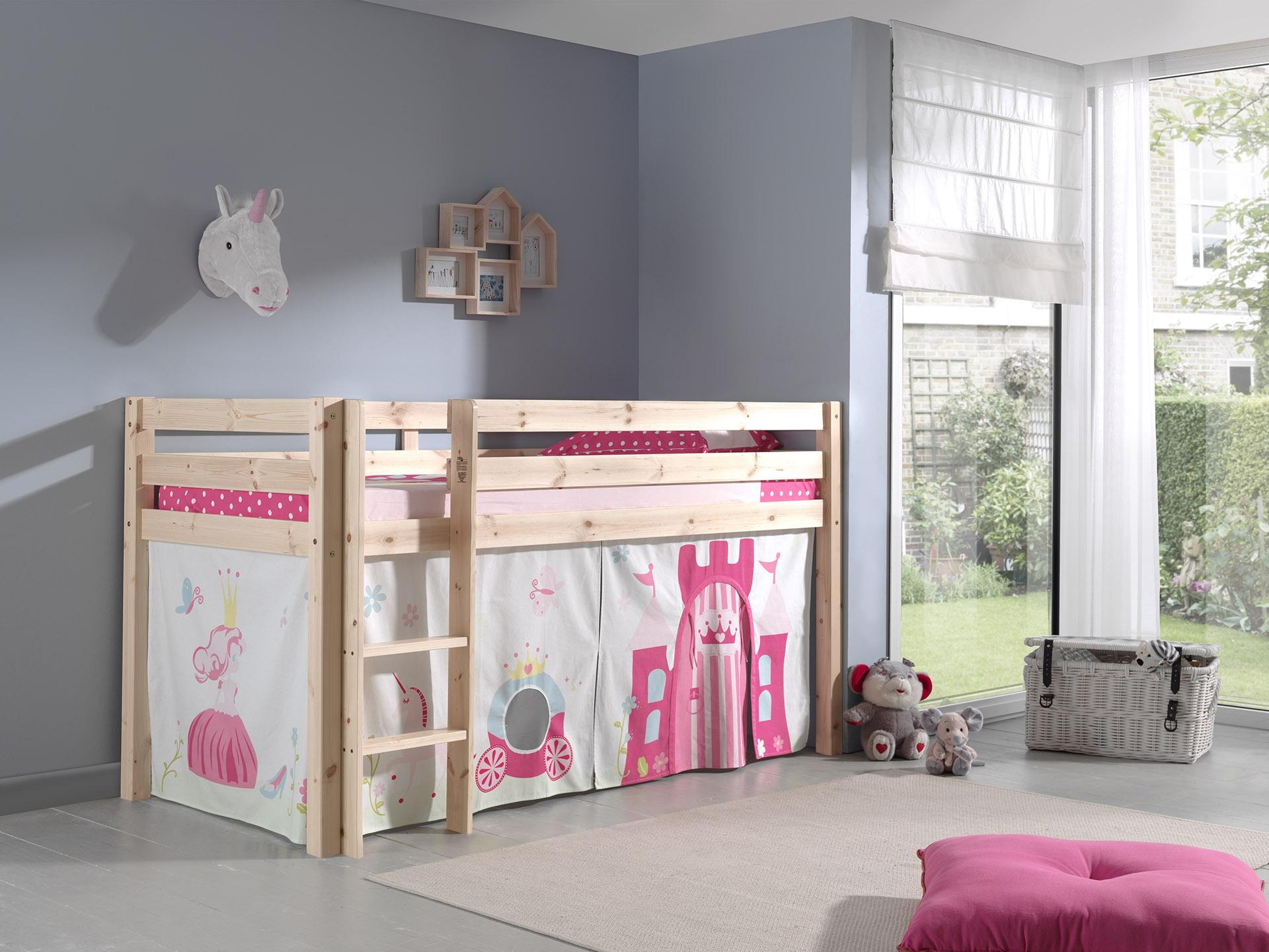 Pat etajat din lemn de pin, cu spatiu de joaca pentru copii Pino Princess Natural, 200 x 90 cm imagine
