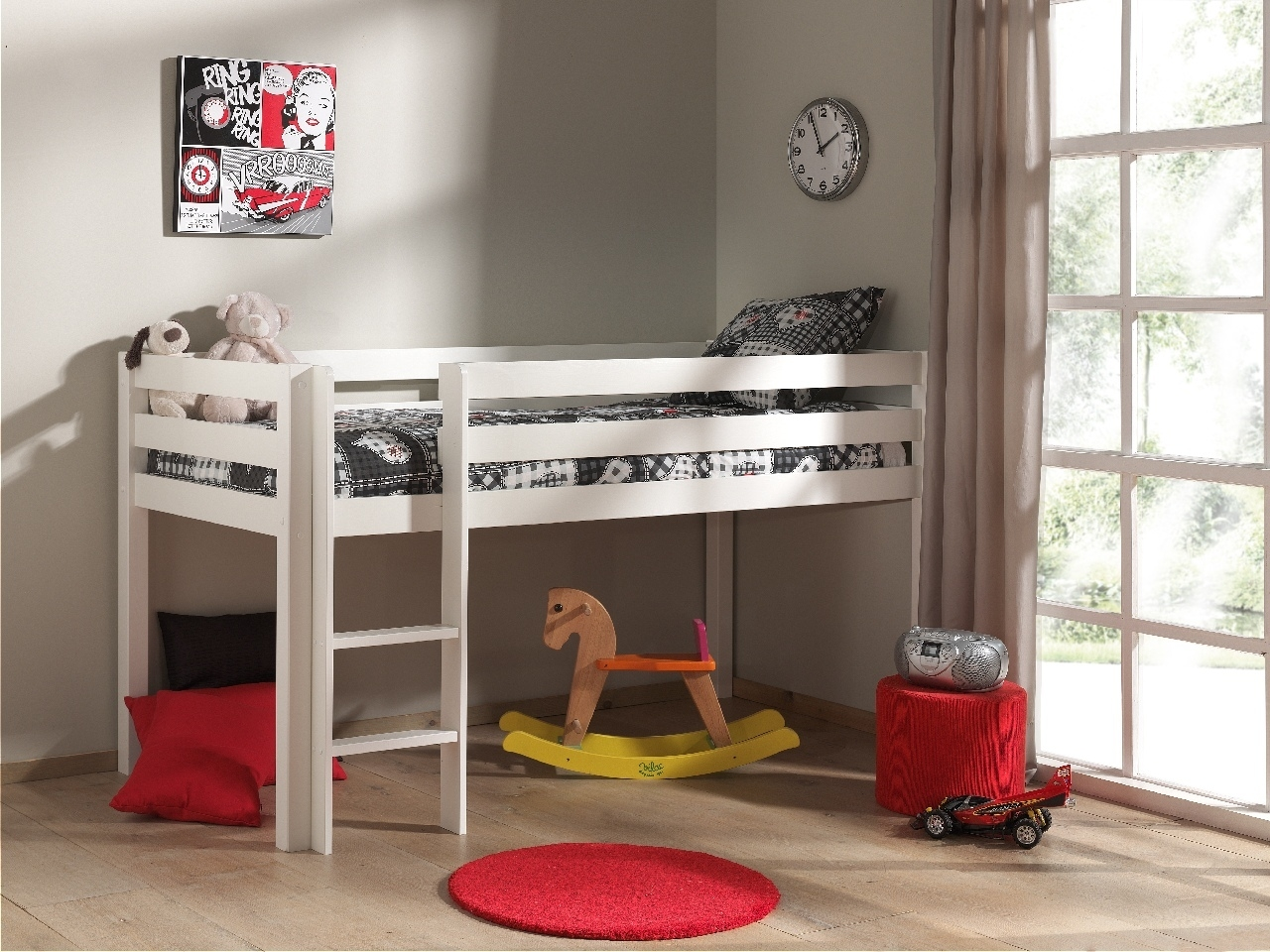 Pat etajat din lemn de pin, cu spatiu de joaca pentru copii Pino Simple Alb, 200 x 90 cm imagine
