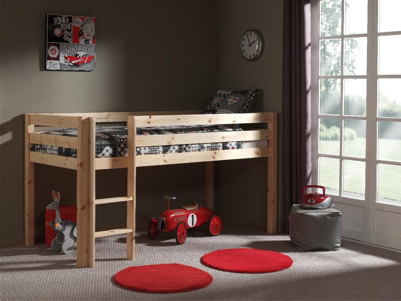 Pat etajat din lemn de pin, cu spatiu de joaca pentru copii Pino Simple Natural, 200 x 90 cm imagine