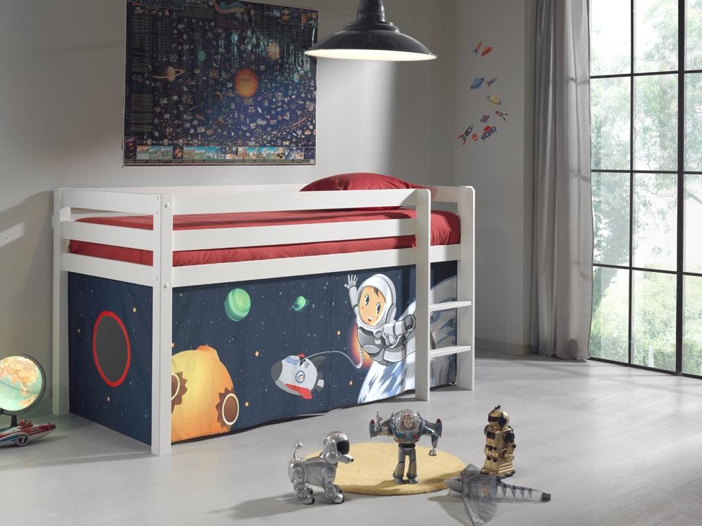 Pat etajat din lemn de pin, cu spatiu de joaca pentru copii Pino Space Alb, 200 x 90 cm somproduct.ro